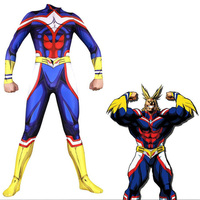All Might My Hero Cosplay Costume Zentai Lycra Spandex Blue Full Body Exquisite Bodysuit Jumpsuit Suits