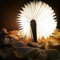 LED plegable libro luz recargable de madera forma USB Lámpara de escritorio MINI luz nocturna niños creativos para decoración del hogar blanco cálido luz