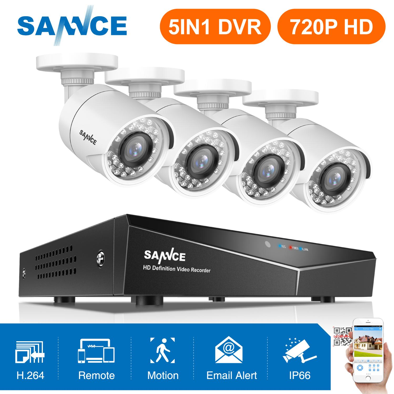Kit DVR Sistema de Vigilância de Segurança HDMI 720P 1200TVL SANNCE 4CH 1080N 5 EM 1 À Prova de Intempéries Ao Ar Livre Câmera de Segurança CCTV 1.0MP