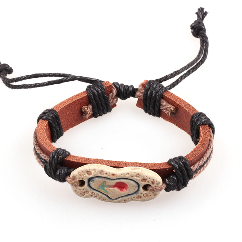 New Leather Braceletes Pulseras Mujer Heart Paracord Bracelet Love Charms Bijoux Homme Mens Bracelets For Man Jewelry In Charm From