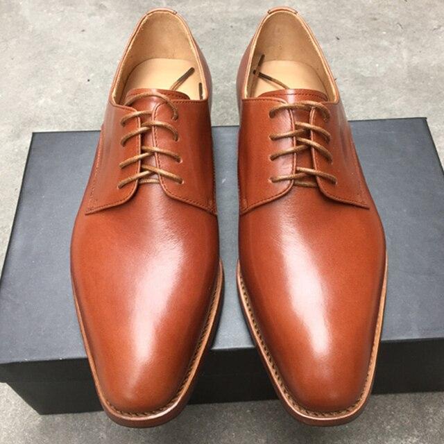 72c7ee41bc31a7 Luxe custom mens goodyear welted schoenen unieke licht tan jurk schoenen  elegante zwart boss lederen schoenen