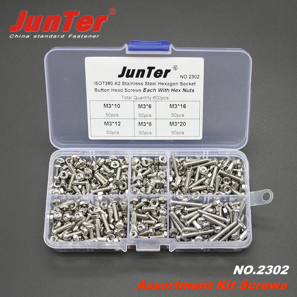 600pcs M3 (3mm)  A2 Stainless Steel ISO7380 Button Head Allen Bolts Hexagon Socket Screws With Nuts Assortment Kit NO.2302600pcs M3 (3mm)  A2 Stainless Steel ISO7380 Button Head Allen Bolts Hexagon Socket Screws With Nuts Assortment Kit NO.2302