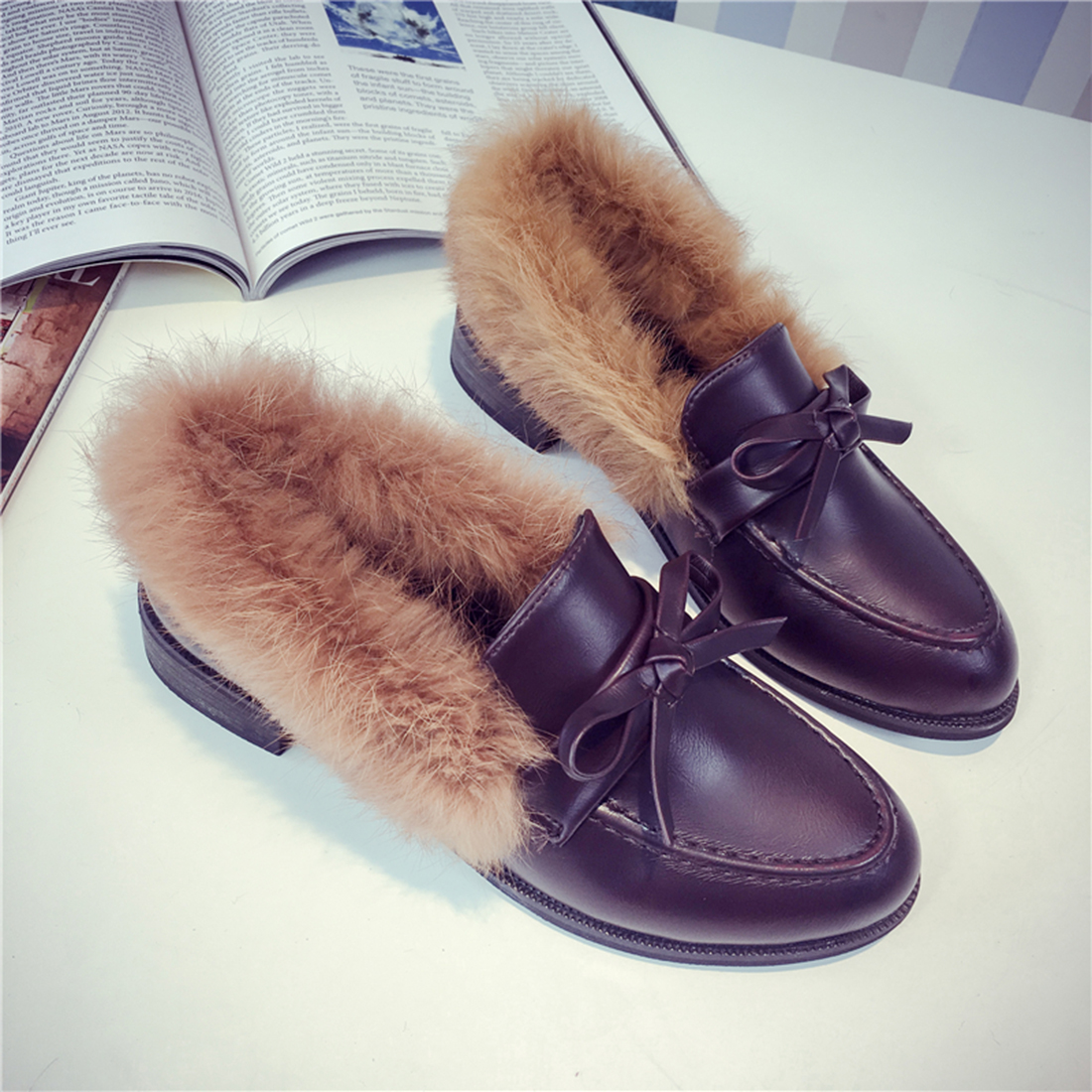 Fashion Winter Warm PU Leather Fur Part Bowknot Slip On Loafers Shoes Flat Moccasins low heels Casual Slip On Loafer Shoes Flat new casual shoes winter fur men loafers 2017 slip on fashion drivers loafer boat shoes genuine leather moccasins plush men shoes