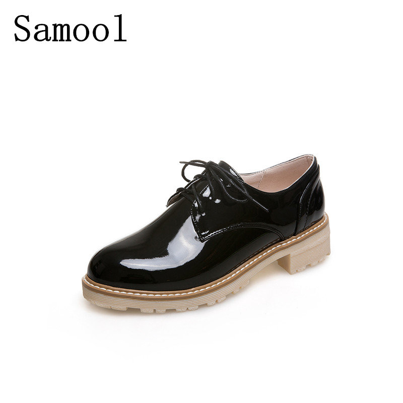 2017 Autumn Retro Oxfords Brogue Women Shoes Fashion Patent Leather Platform Casual Shoes Round Toe Flats Lace Up Martin Shoes qmn women brushed leather platform brogue shoes women round toe lace up oxfords flat casual shoes woman genuine leather flats