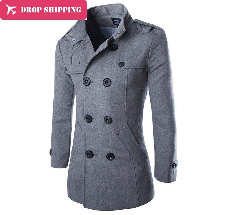 Drop ShippingAutumn Winter New Good Quality Men's Wool Blends   Trench   Men's Double Breasted Slim Fit Dust Coat Wind Coat ,t2973