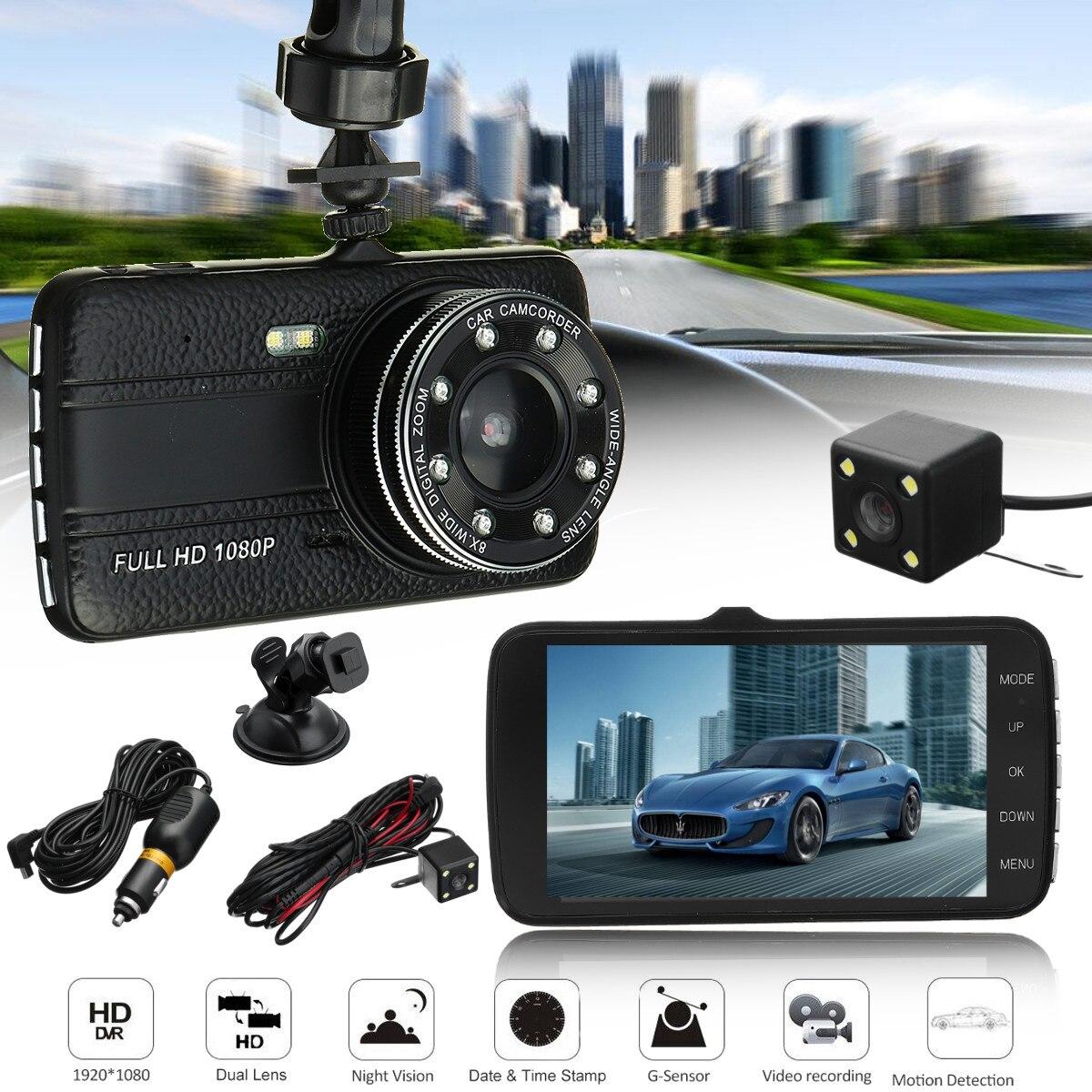 4inch Full screen IPS Screen Dual Lens Car DVR Camera Full HD 1080P Front+Rear View Camera Night Vision dash cam Parking Monitor