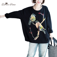 BelineRosa Large Size Women Tops Casual Women Cotton Clothes Gray Black Color Casual Winter Pullovers for Women HS000377