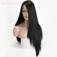 MERISI HAIR Synthetic Lace Front Wigs For Women Black Long Straight Blonde Wig Pink Green 4 Colors Available Heat Resistant