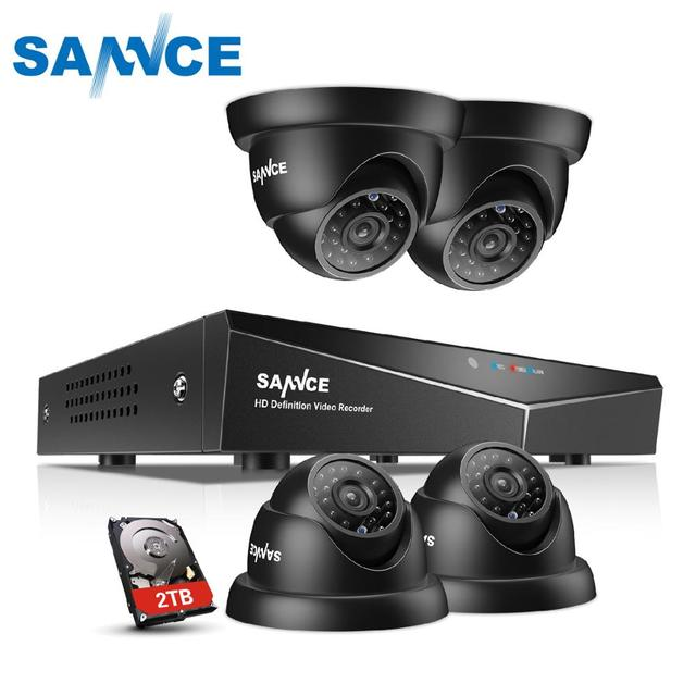 SANNCE 4CH セキュリティカメラシステムホームビデオ監視キット 1080 1080P HDMI 出力 DVR 720 1080P CCTV DVR キット 720 1080P 4 個 1.0MP カメラ