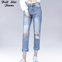 Plus Size Boyfriend Ripped Capris Jeans Women Big Hole White Wash Ankle Length Loose Cropped Denim