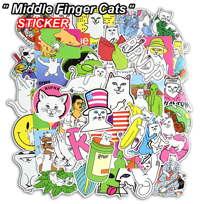 New 50 Pcs Middle Finger Cats Stickers for Skateboard Laptop Luggage Motorcycle Phone Car Bike Cool Graffiti Waterproof Sticker