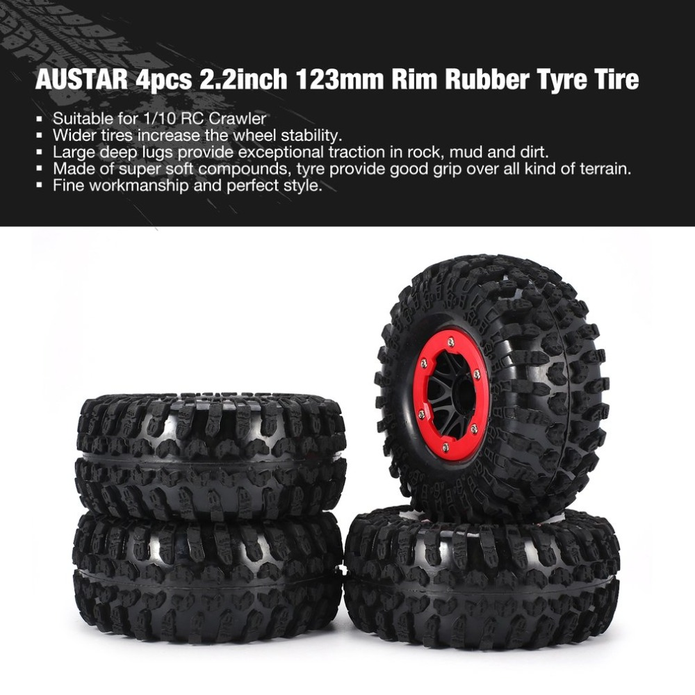 AUSTAR 4pcs Wheel AX-3021/ 4021E/ 4021F 1:10 Rim Rubber Tyre Tire 2.2Plastic Hub for RC Crawler Beadlock Off-road Truck HSP HPI universal replacement plastic tire w wheel rim hub for 1 10 on road model cars black 4pcs