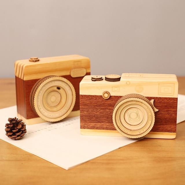 Creative Wood Camera Cheap Music Boxes Retro Mechanism Hand Craft