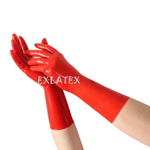 Latex Gloves Unisex Gloves Pink Short Latex Gloves Latex Rubber Mixed Toe Wrist Gloves Fetish Costume  Mittens