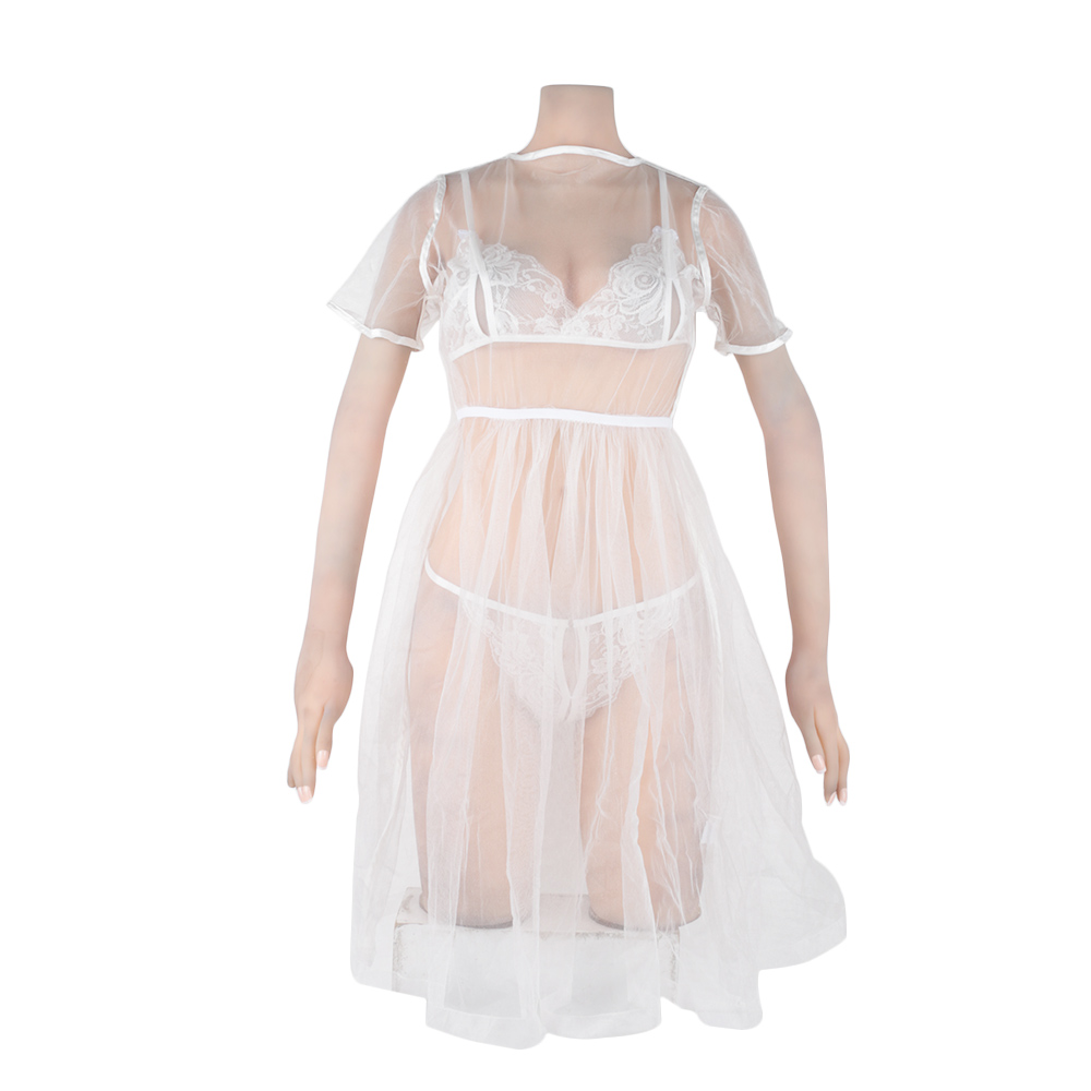 <font><b>Sexy</b></font> Underwear Cosplay <font><b>White</b></font> Bride Wedding <font><b>Dress</b></font> Uniform Perspective Lace Gauze Outfit <font><b>Babydoll</b></font> <font><b>Lingerie</b></font> Pajamas Set image