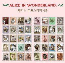 4 sztuk/partia 4 arkusze na zestaw nowy DIY vintage Alice serii pieczęć papierowa naklejka etykieta dekoracyjna