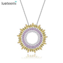 LUOTEEMI New Delicate Luxury Sparking Cubic Zirconia Round Vintage Pendant Necklaces For Women Thanksgiving And Christmas