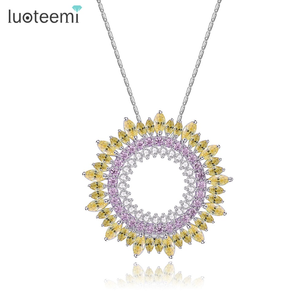 LUOTEEMI New Delicate Luxury Sparking Cubic Zirconia Round Vintage Pendant <font><b>Necklaces</b></font> For Women Thanksgiving And Christmas Gifts
