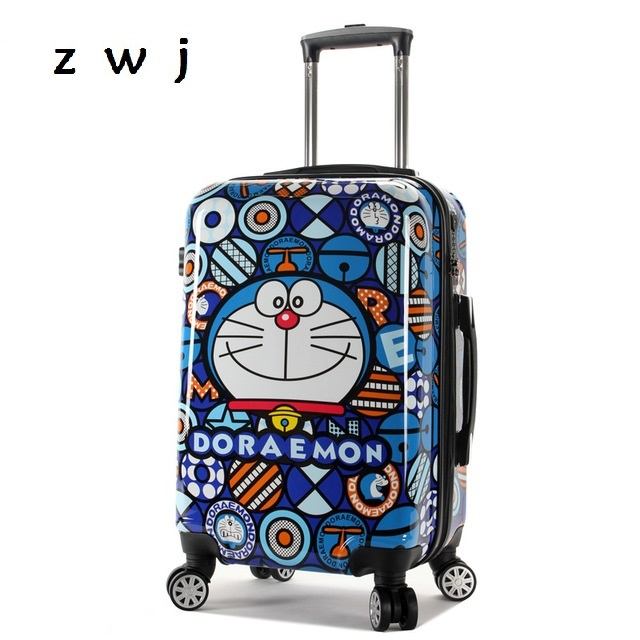 Doraemon Cartoon Rolling Luggage Bag Kids Suitcase Travel Carry On Child Universal Wheels Trolley