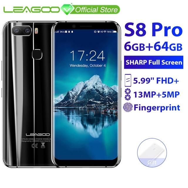 LEAGOO S8 Pro 6 GB 64 GB 5.99 ''18:9 Màn Hình Điện Thoại Di Động Android 7.0 MTK6757 Octa Core Camera Kép vân tay ID 4G