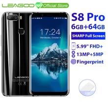 LEAGOO S8 Pro 6GB 64GB 5.99 18:9 Display Del Telefono Mobile Android 7.0 MTK6757 Octa Core Dual Camera di impronte digitali ID 4G Smartphone
