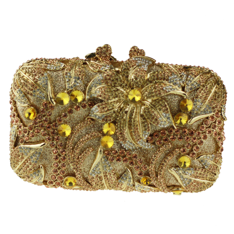 Pillow Shaped Gold Evening Clutch font b Bags b font for Ladies Big Flower Pattern Crystal