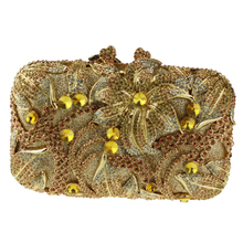 Pillow Shaped Gold Evening Clutch Bags for Ladies Big Flower Pattern Crystal Clutches for Bridesmaids Inexpensive Wallet Clutch
