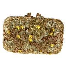 Kissen Geformt Gold Abend Handtaschen für Damen Große Blume Muster Kristall Kupplungen für Brautjungfern Preiswert Geldbörse Kupplung