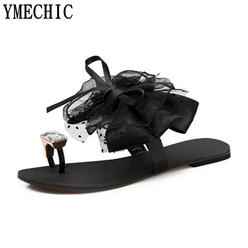 Image 3 - YMECHIC 2018 summer ladys Bowtie flower flat sandals sexy casual fashion female beach flip flops women grey black shoes homeshoes homewoman shoes homeshoes home woman -