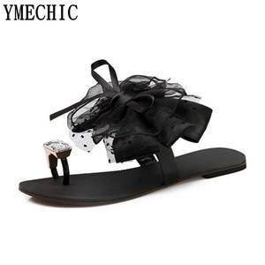 Image 3 - YMECHIC 2018 summer ladys Bowtie flower flat sandals sexy casual fashion female beach flip flops women grey black shoes home