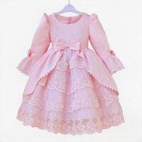 Vestido Formal Para Las Niñas de Color Rosa al Estilo Occidental europeo de Baile de Fantasía Vestido Para Niñas 2-12 Años de Edad Ropa Muchachas de La Princesa KD-1436