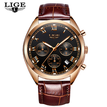 LIGE Chronograph Mens Watches Leather Lu