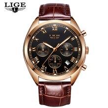 LIGE Chronograph Mens Watches Leather Luxury Brand Military Sport Quartz Watch Waterproof Men Wristwatches Clock Reloj Hombre цена
