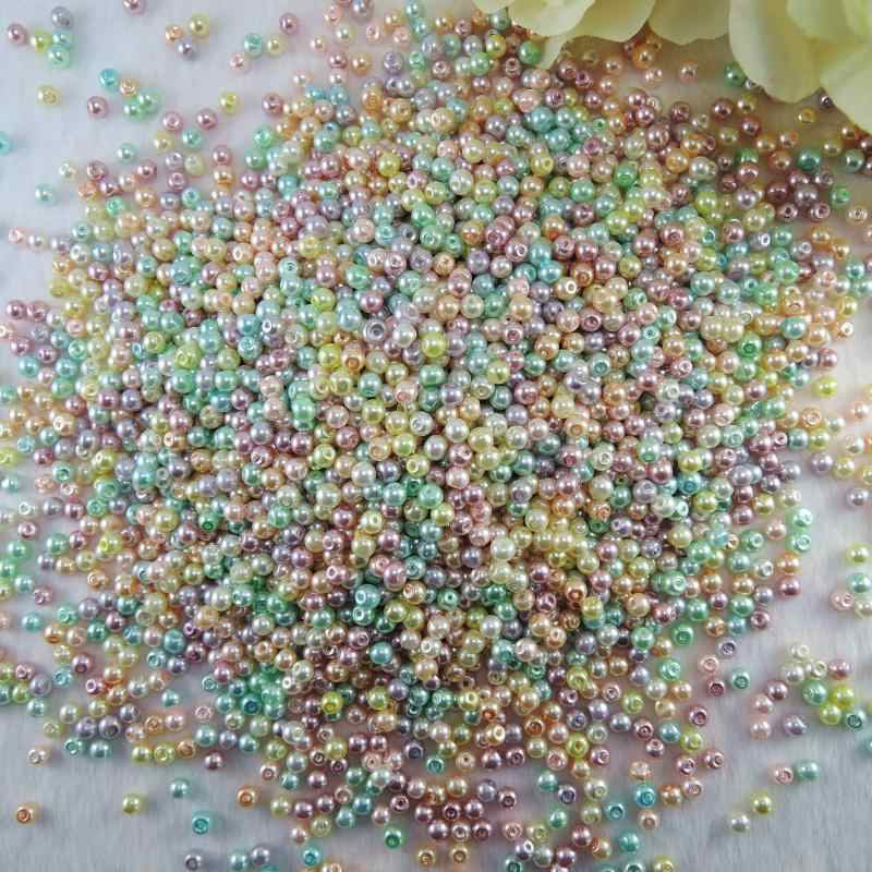 3mm Assorted Mixed colors, white, Pearl Ivory color Glass Pearl beads,Round Loose Imitation Pearls Bead, Jewelry Making Beads