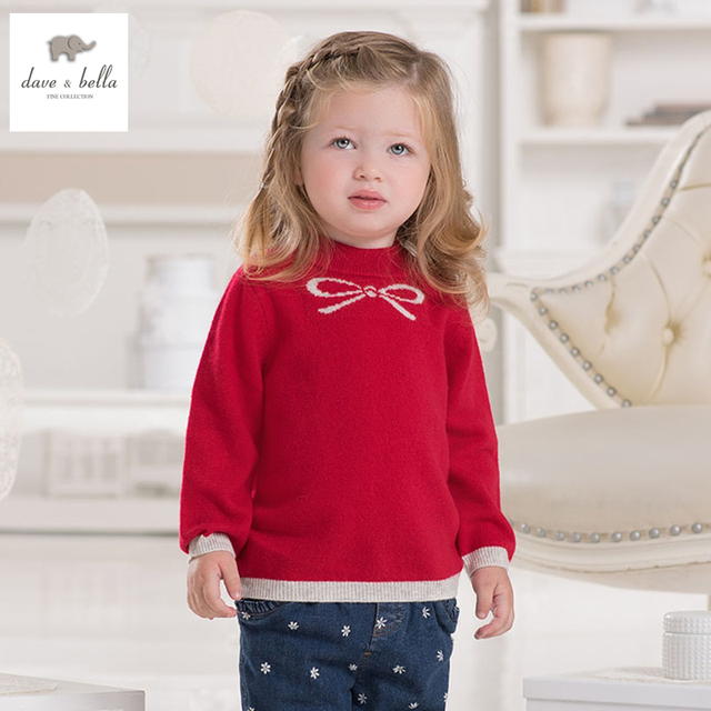 DB1823 dave bella autumn winte  toddlers sweater infant clothes baby girls 100% cashmere sweater baby  sweater
