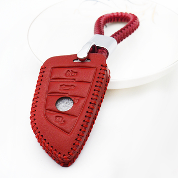 Leather Car Key Case Cover Shell For BMW 2/7 Series X1 X2 X5 X6 F45 F46 MPV F15 F85 X5M F16 F86 X6M Braid Rope Keychain Holder image