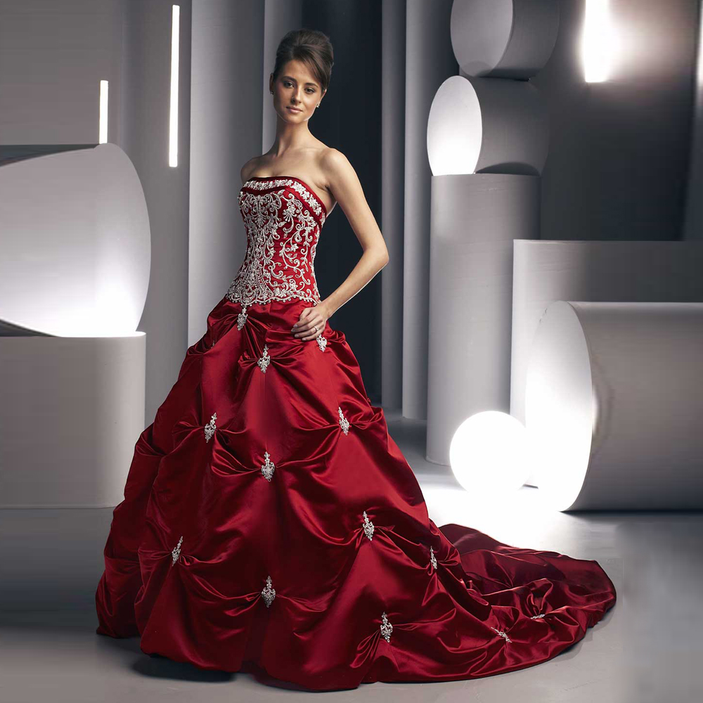 Strapless Floor Length Tired Off Shoulder Ball Gowns Red Bridal Gown ...