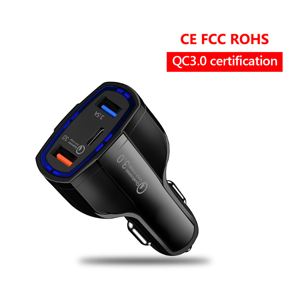 !ACCEZZ Universal Mini Double Port USB QC Car Charger Quick Charge 3.0 2.0 With LED Fast Type-C Car Phone Charger For Samsung S8 (2)