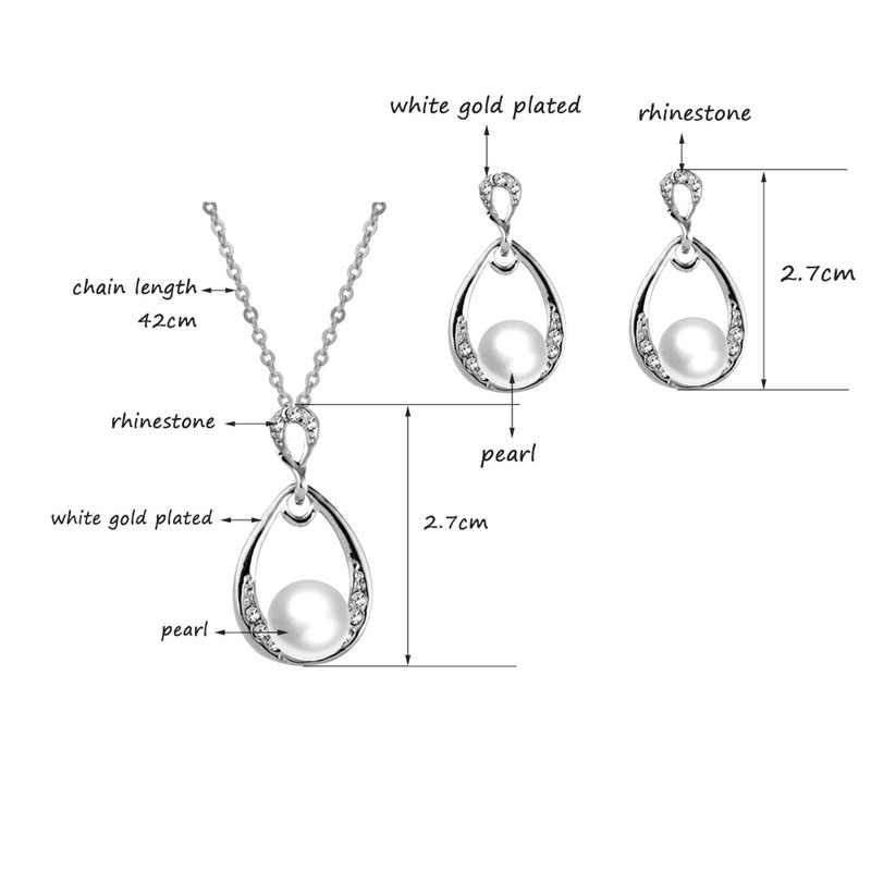 SINLEERY Fashion Simulated Pearl Jewelry Sets For Woman Rhinestone Water Drop Necklace Pendant Earrings Bridal Wedding TZ206 SSH