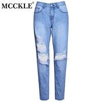 MCCKLE Women S Ripped Boyfriends Style Jeans High Waist Destroyed Denim Jean Slim Fit Pants Trousers