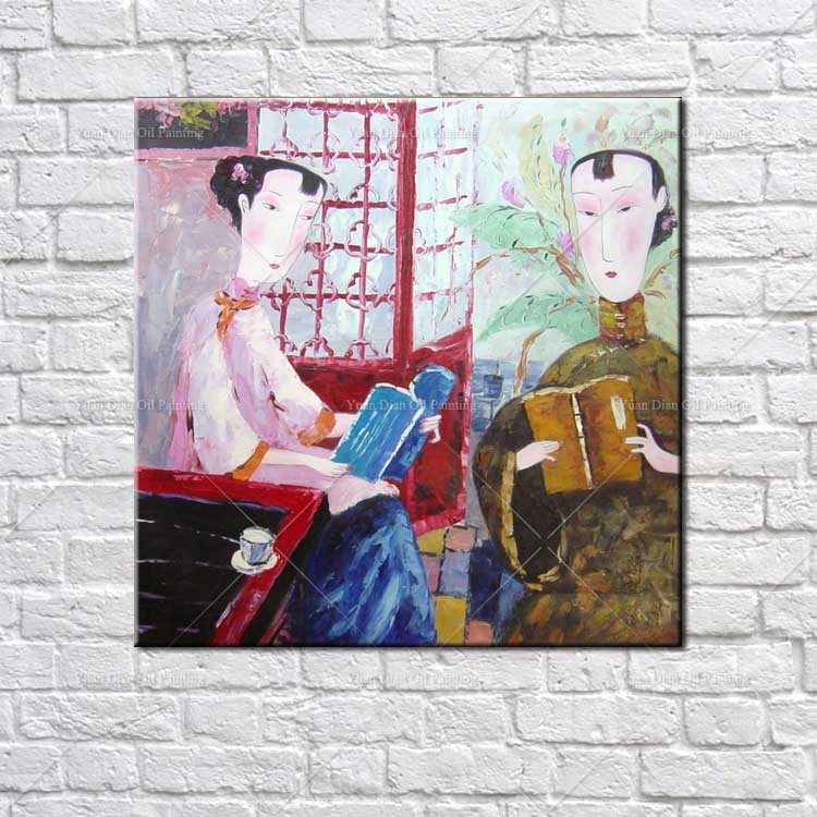 Two Chinese Girl Women Abstract Decorative Hand painted Mural Paintings Chinese Traditional Knife Wall Oil Painting Canvas