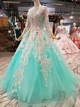 Mint Green Prom Dresses Ball Gown Long Sleeves Lace Appliques Tulle Flowers Crystal Evening Gowns 2019 Sheer Neck Zipper Back цены онлайн