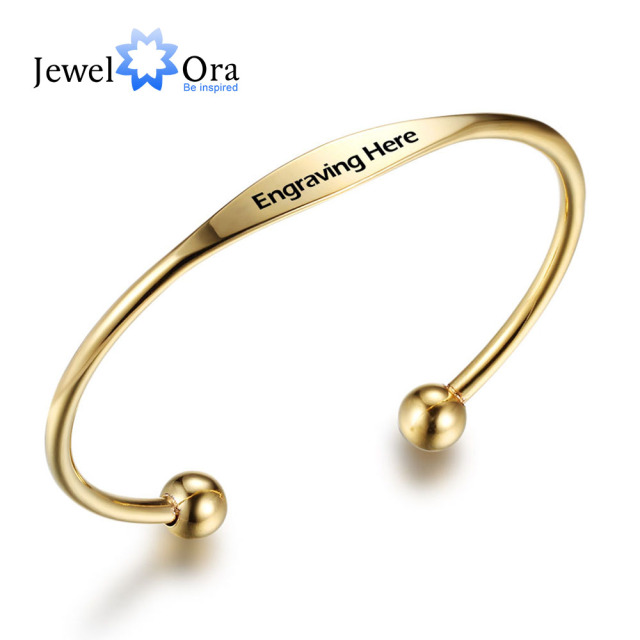 Personalized Cuff Bracelets Stainless Steel Open Bangles Women Fashion Jewelry Female Charm Bracelet Gift Jewelora