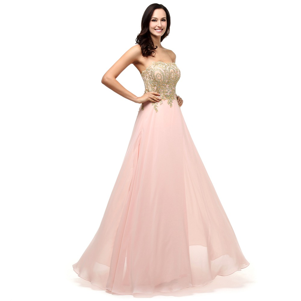 Real Sample Robe De Soiree Strapless A Line Appliques Pink Beaded ...