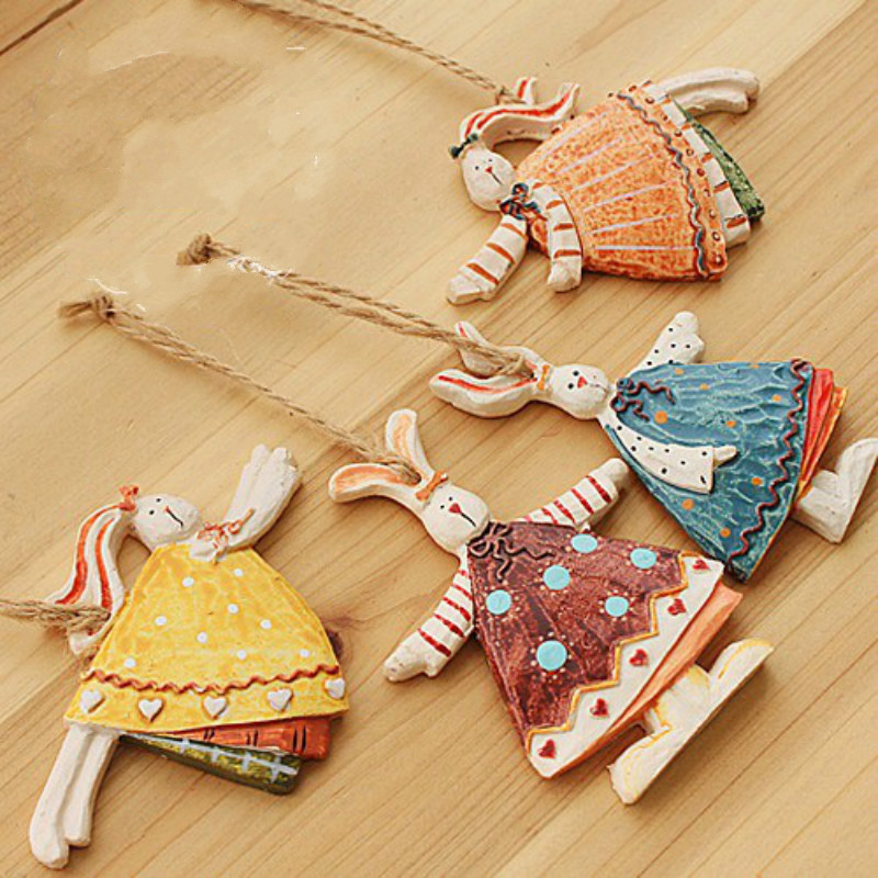 Most Free Shipping Easter Home Decor Ceramic Crafts Rabbit Pendant Sticker Poster Store Kids