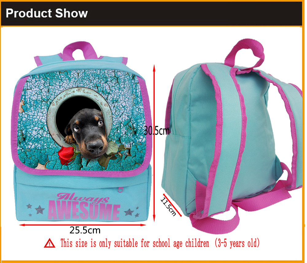 Brand Design Childrens Schoolbag Cute Rose Dog Kindergarten School Bags Satchel Kids Baby Girls Boy Book Bags Mochila Toddler