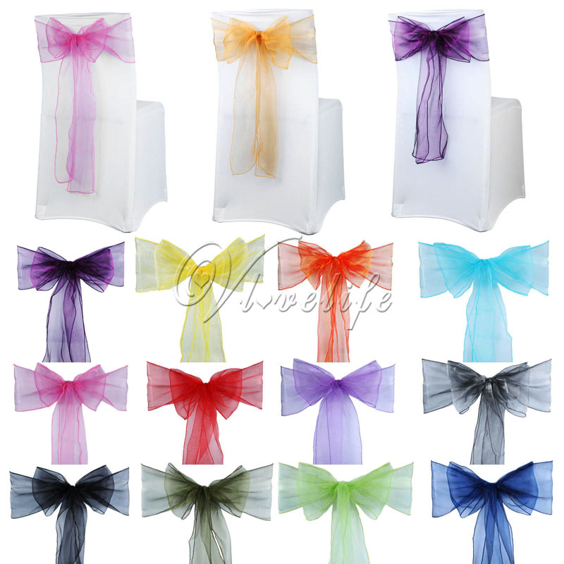 100pcs Organza Chair Sashes Chair Bows Wedding Party Event Xmas Banquet Decor Sheer Organza Fabric 18cm X 275cm