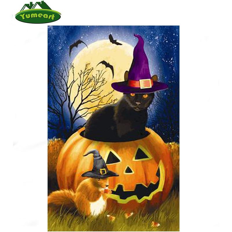 pumpkin diy diamond painting cross stitch kits cat home decor rhinestone inlay diamond embroidery painting halloween decoration