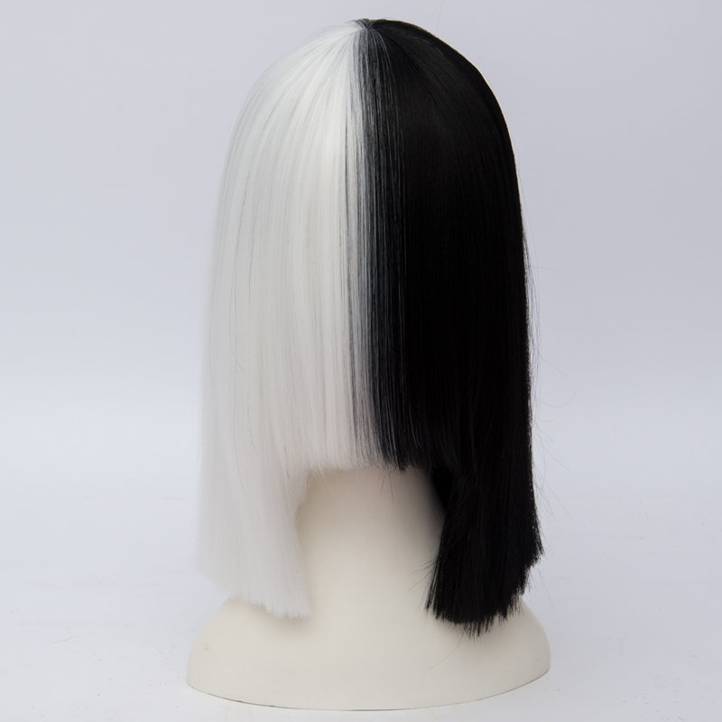 Systematic Anime Basic Hair Black Mixed White Medium Women Cosplay Full Wig Heat Resistant+wig Cap Discounts Sale
