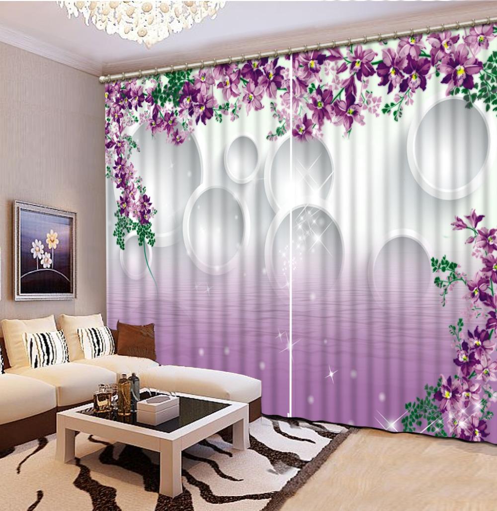 blackout cortinas para la sala de estar sala de cama cocina ventana cortina prpura crculo flor